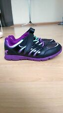 NEW CLARKS GIRLS BLACK AND PURPLE LACE TRAINERS- UK size 10.5E