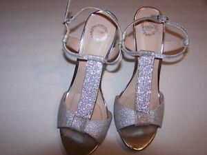 Women's Sparkly Platinum I. Miller Strap Stiletto Sandals Sz 10M Exc 95% Cond.