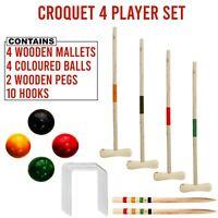 4 PLAYER TRADITIONAL GARDEN WOODEN MALLET BALLS CROQUET SET OUTDOOR TOY FUN GAME