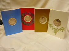 4 Christmas Cards with Token Coin Toymaker's Shop Hanukkah Franklin Mint c1960s