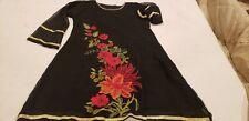 Pakistani/Indian Women's Black Embroidered Chiffon Shirt Eid and Party Wear