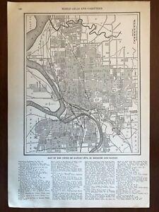 1927 Kansas City, Missouri and Kansas Map, New World Atlas and Gazetteer