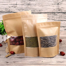 Stand Up Food Pouch Kraft Paper Seal Bags With Clear Window * VARIOUS SIZES *