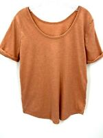 Z by Zella Womens Short Sleeve Drop Back Neck Pale Orange Athletic Top Sz Small