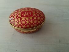 Halcyon Days 40Th Anniversary Birthday Red Gold Star Oval Trinket Box England