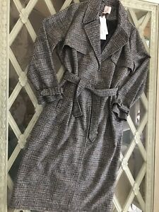 New Tu Woman Premium Check Belted Trench Coat 16 £60