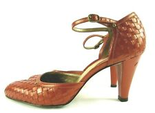 ANTONIO MELANI Size 9 M Rust Metallic Leather Basket Weave Mary Jane Pumps Heels