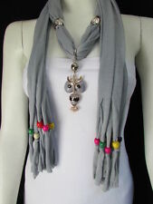 Women Gray Fashion Soft Scarf Long Necklace Multi Colors Wood Beads Owl Pendant