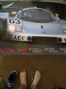 ORIGINAL 1989 LEMANS  MERCEDES AUTO RACE POSTER LARGE 36 X 24 EXCELLENT