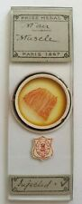 """VERY FINE ANTIQUE MICROSCOPE SLIDE """"MAN MUSCLE INJECTED"""" BY A.C.COLE"""
