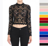 All Over Floral Lace Sheer Fitted Top Stretchy Long Sleeve Mock Neck Cropped