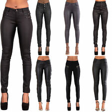 a6a8071ee99bd Ladies Black Leather Look Jeans Womens Skinny Stretch Biker Trousers Size  6-14