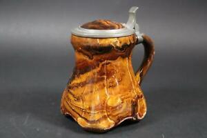 Seltener Bierkrug Keramik Villeroy & Boch um 1900 gemarkt Zinndeckel (EA577)
