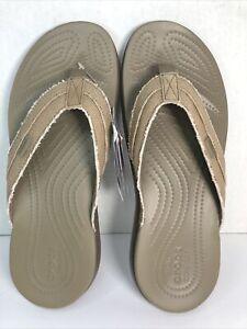 Crocs Santa Cruz Canvas Flip Flop Khaki/Walnut Size 11 205611-24S New