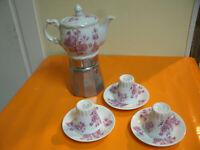 Vintage Antico Set Servito Caffettiera + 3 Tazze con Piattini BAVARIA