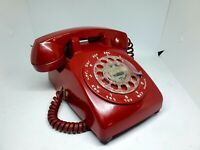 Vintage RED Western Electric Bell Desktop Rotary Dial Phone Telephone