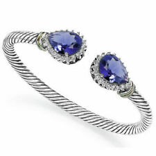 21.68 Ctw Lab Tanzanite & Created Diamond 925 Sterling Silver Bangle Bracelet