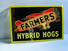 FARMERS HYBRID HOGS Flange Sign w/Airplane  Farm Feed Seed Corn    modern retro