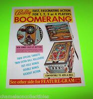 Bally BOOMERANG 1975 Original NOS PINBALL MACHINE Promo Sales Flyer Non Stamped