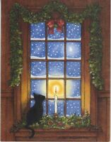 CHRISTMAS BLACK CAT SNOW WINTER CANDLE STARS 1 CANTON EGG ROLL RECIPE RICE CARD