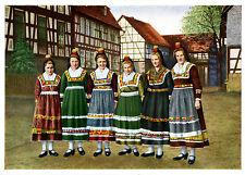 AK Hessische Trachten Hessen Hessenmädchen auf dem Weg zur Kirmes A_354