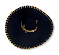 """MEXICAN MARIACHI HAT BLACK & GOLD ADULT SIZE, CHARRO ,  SOMBRERO, 22"""" ONE SIZE"""