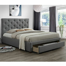 Modern Queen Size Fabric Bed Frame with 1 Drawer - Light Grey