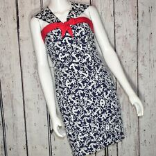 Betsey Johnson Embroidered Anchor Pin Up Nautical Fit & Flare Dress Sz 8 NWOT