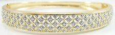 "Sterling Silver Vermeil Accent Diamonds Bangle Bracelet 7.25"" Hinged Filigree"