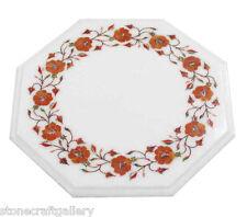 "12"" Marble Side Table Unique Vintage Pietra Dura Hand Inlay Art Home Decor"