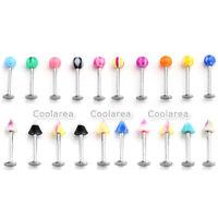 10pcs Stainless Steel 16G UV Ball Labret Monroe Lip Ring Barbell Body Piercing