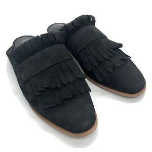 STEVEN by Steve Madden Black Mules Womens Size 7.5 Adee Fringe Slip On Shoes