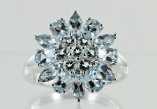 Hallmarked 9ct White Gold Aquamarine Flower Cluster Ring REF2271