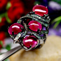 NATURAL RED RUBY & GREEN EMERALD RING 925 STERLING SILVER SZ 7.75