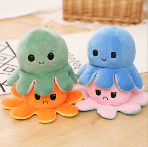 Double-Sided Flip Reversible Octopus Plush Toy Stuffed Doll Mood Meme Kid Gift
