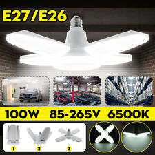 100W 20000lm E27 LED Garage Shop Work Lights Ceiling Fixture Deformable Lamp