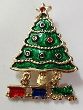 Gold Tone Painted Brooch-Pin Christmas Tree With Train