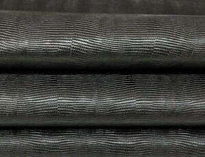 BLACK TEJUS lizard Italian Calfskin Calf leather 2 skins 12sqf 0.8mm #A7356