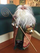 2007 Byers Choice Caroler Saint Nicholas Santa Ornate Gold Robe and Bell