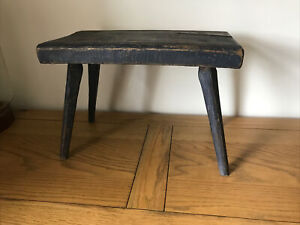 Quirky Old Vintage  Small Wooden Used Milking Or Bathroom Stool