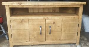 SOLID WOOD RUSTIC CHUNKY PLANK WOODEN CORNER TV UNIT  **MADE TO MEASURE**