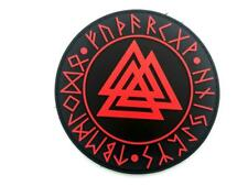 Valknut Knot Of The Slain Viking Red PVC Airsoft Paintball Patch