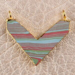 Natural Turquoise Triangle Shape Yellow Gold Plated Connector Making For Jewelry