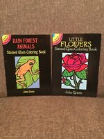 2 Dover Little Activity Book- Rain Forest & Flowers Stained Glass Coloring