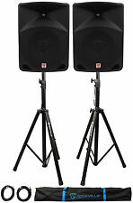 """Pair Rockville RPG10 10"""" 1200w Powered PA/DJ Speakers + 2 Stands + 2 Cables+Bag"""