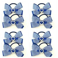 Handmade Girls School Hair Bow Bobbles Double Gingham Royal Blue Sold In Pairs