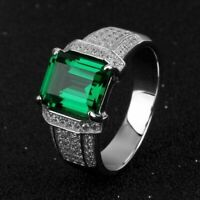 4.50 Ct Emerald Cut Green Emerald Men's Wedding Band Ring 14k White Gold Over