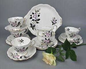 Vtg Royal Albert Queens Messenger Tea Service Set. 4 cups saucers plates jug etc