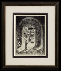 "Frederick Polley ""Pirates Alley, New Orleans"" 8""x6"" etching, signed"