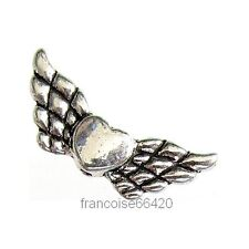 5 Intercalaires spacer Ailes Coeur 22x9x3mm Perles apprêts création bijoux A383